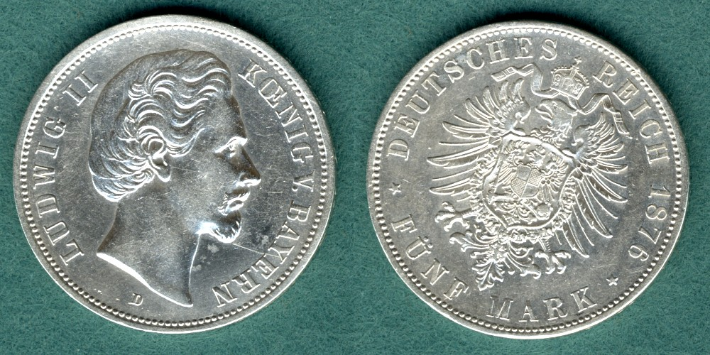 5 Mark 1876 D Bayern Ludwig II. ss/vz