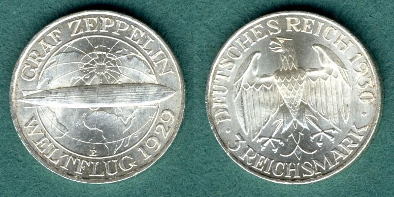 3 Reichsmark 1930 E Weimarer Republik Graf Zeppelin vz/stgl.