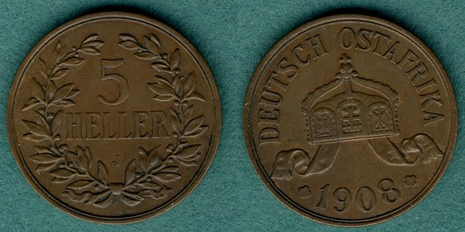 5 Heller 1908 J Deutsch Ostafrika J.717 ss/vz
