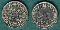 50 Reichspfennig 1933 J Weimarer Republik J.324 ss/vz  89,00 EUR  +  6,90 EUR shipping