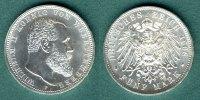 5 Mark 1908 F Württemberg Wilhelm II. fast stgl.  255,00 EUR