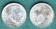 2 Reichsmark 1939 E Drittes Reich Paul von Hindenburg vz/stgl  49,00 EUR