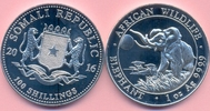 100 Sh. 2016 SOMALIA 100 Sh. 2016, Elefant 2016, 1 Unze Silber stfr. stfr  22,00 EUR  +  6,00 EUR shipping