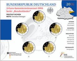 2 Euro   5x 2016 A/D/F/G/J  Deutschland Dr...