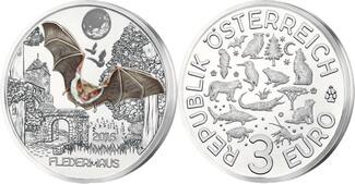 3 Euro x 3 Münzen 2016  Österreich Tier - Taler - Serie -Fledermaus-, 01 / 12 Ausgaben,  3 Münzen  handgehoben hgh  /    vz / stgl  Silber  farbig