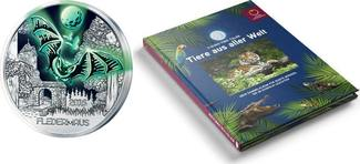 3 Euro + Sammelalbum für Halloween 2016  Österreich Tier-T. -Serie-Fledermaus-, 01/12 + Sammelalbum,sofort lieferbar!!! handgehoben hgh  /    vz / stgl  Silber  farbig