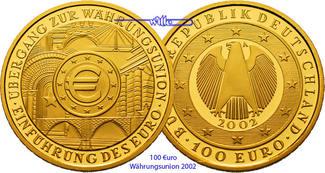 100 Euro  15,55g  fein  28 mm Ø 2002 G  De...