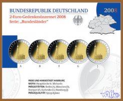 Deutschland 2 Euro  5x 2008  PP im Blister...