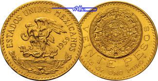 20 Pesos,  15,00g fein 27 mm Ø 1959  Mexik...