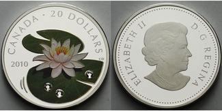20 $ 2010  Kanada 20 $ Kristall-Wasserlili...