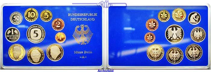 12,68DM 1990 J Deutschland Amtlicher Kursmünzensatz in blauem Epalux Proof