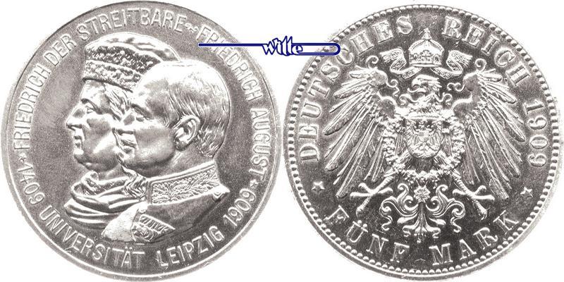5 Mark 1909 Sachsen Friedrich August III. 1904-1918, Universität Leipzig UNC-