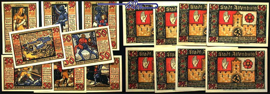8 x 50 Pfg, kompl. Serie 1921 Altenburg, Sachsen Anhalt Stadt, Prinzenraubserie AU-UNC