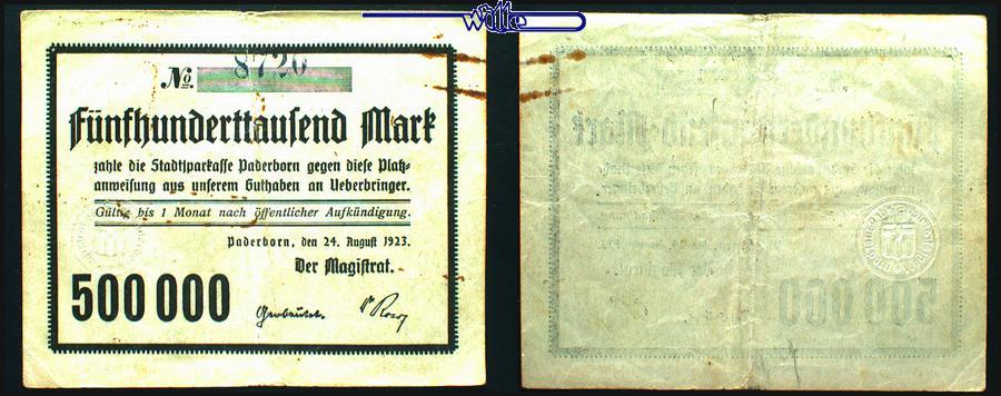 500 000 Mark 1923.10.24 Paderborn, Kreisstadt 11.Ausgabe Notgeld Paderborn F-VF