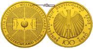 Deutschland 100 Euro  15, 55g  fein  28 mm Ø Fussball WM, Prägestätte A /   Fleck im Spielfeld - Patina