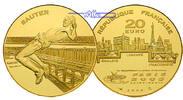 Frankreich 20 Euro, 15,64g  fein 31 mm Ø Leichtathletik-WM Hochsprung (Sauter) inkl. Etui & Zertifikat & Schuber