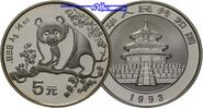China 5 Yuan Panda Bren, 1/2 oz, Silber