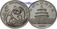 China 10 Yuan Panda Bren, 1 oz, Silber