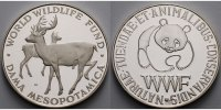 WWF Medaille<br>29,87g<br> fein<br>40 mm Ø Medaille in Silber, WWF -  World Wildlife Fund - Damwild (DAMA MESOPOTAMICA)