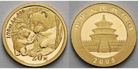 China 20 Yuan,1,55g fein14 mm  Panda-Bren, 1/20 oz, 999 Gold in Kapsel