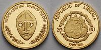Liberia 10 Dollar1,24g fein13,92 mm  Maske der Dan, inkl. Kapsel und MDM-Zertifikat