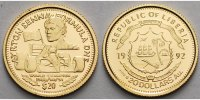 Liberia 20 Dollar<br>1,24g fein<br>14 mm  Ayrton Senna, inkl. Kapsel und MDM-Zertifikat