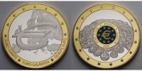 Deutschland 70 mm  Silbermedaille Euro-Giganten -  farbig - 
