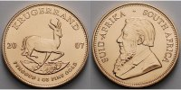 Sd Afrika 1 oz<br>31,1g<br>fein<br>32,69 mm  Krgerrand 1 oz. - Springbock, 2007 <b>seltener Jahrgang</b>