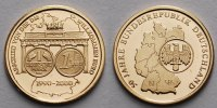 Deutschland 0,29g fein, 585er Gold Medaille - Abschied von der DM, Willkommmem Euro 1990-2000