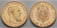 Preussen 10 Mark,<br> 3,58g fein <br>19,5 mm Ø Friedrich III. 1888,