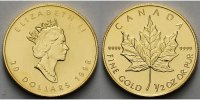 Kanada 1/2 oz.<br> 15,575g<br> fein <br>25 mm Ø Maple Leaf, Gold 1/2 oz.999.9er Gold (ohne Beizeichen)<b>in originaler Folie</b>