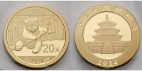 China 20 Yuan,<br>1,55g <br>fein<br>14 mm Ø Panda-Bären, 1/20 oz, 999 Gold