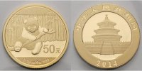 China 50 Yuan,<br>3,11g <br>fein<br>18 mm Ø Panda-Bären, 1/10 oz, 999 Gold