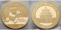 China 100 Yuan, 7,78g  fein 22 mm Ø Panda-Bären, 1/4 oz, 999 Gold