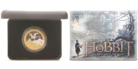 Neuseeland 1 Dollar  Hobbit-Smaug and the Lonely Mountain, <b> 2. vergoldete Münze zum Kinofilm 2013,