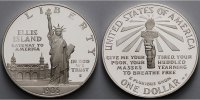 USA 1 $ 100 Jahrestag Errichtung der Freiheitsstatue, in Kapsel ohne Zertifikat und Etui