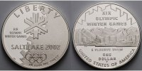 USA 1 $ 2002  PP Oly. Winter Salt Lake 2002, inkl. in Kapsel & Etui & Sc... 127.11 US$