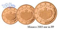 1, 2, 5 Cent 2005 Monaco Kursmünzen,  Satz 2005 PP  216.63 US$ 195,00 EUR  +  38.88 US$ shipping