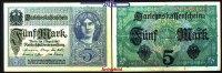 5 Mark 1917 01,08 Deutsches Reich Darlehenskassenschein, Ro.54c, II-III  1.67 US$ 1,50 EUR  +  12.22 US$ shipping