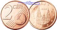 2 Cent 2000 Spanien Kursmünze, 2 Cent stgl  0,50 EUR  +  7,00 EUR shipping
