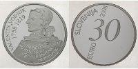 30 Euro 2008 Slowenien Valentin Vodnik 1758-1819 / zweite 30 Euro Münze... 169,00 EUR