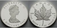Kanada 5 $ Maple Leaf mit Pappschuber