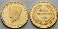 Trkei 100 Piaster, 1 Lira, 6,62 g.<br>fein, 22,00mm  Prsident Kemal Atatrk / 35. Jahr der Republik - 916,2/3er Gold - 6,62 g f.