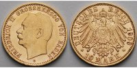 Baden 10 Mark, 3,58g <br>fein,<br>19,5mm  Friedrich II. 1907 - 1918