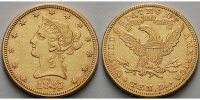 USA 10 $,<br>15,05g fein Liberty,ohne Mnzzeichen Philadelphia 1881 Gold -Archivbild-