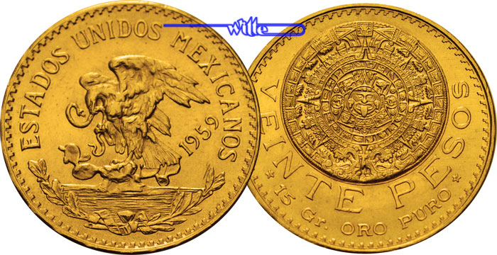 20 Pesos, 15,00g fein27 mm Ø 1959 Mexiko Azteken Kalender, Gold -Archivbild- Anlagegold