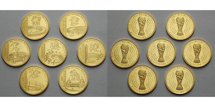 Medaillen 2006 Deutschland Fußball WM 2006-Die Fußball-Weltmeister,7 Nationen in Kapsel&Zertifikat&Holzetui Proof20Ø