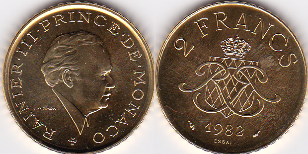 2 francs 1982 monaco pattern coin 2 f monaco 1982 gold only 1000 pieces prince rainier iii. Black Bedroom Furniture Sets. Home Design Ideas