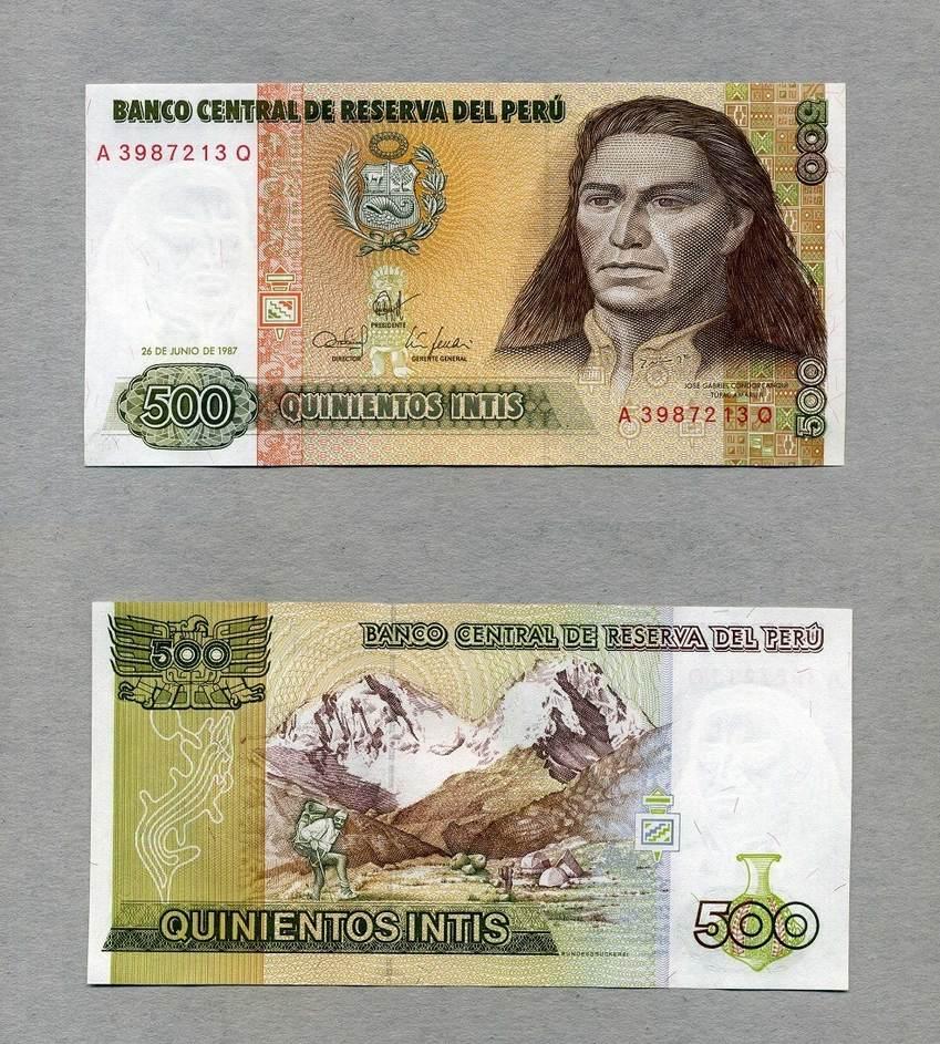 1987 P-134b Unc Details about  /Peru 500 Intis x 100 Pcs Bundle