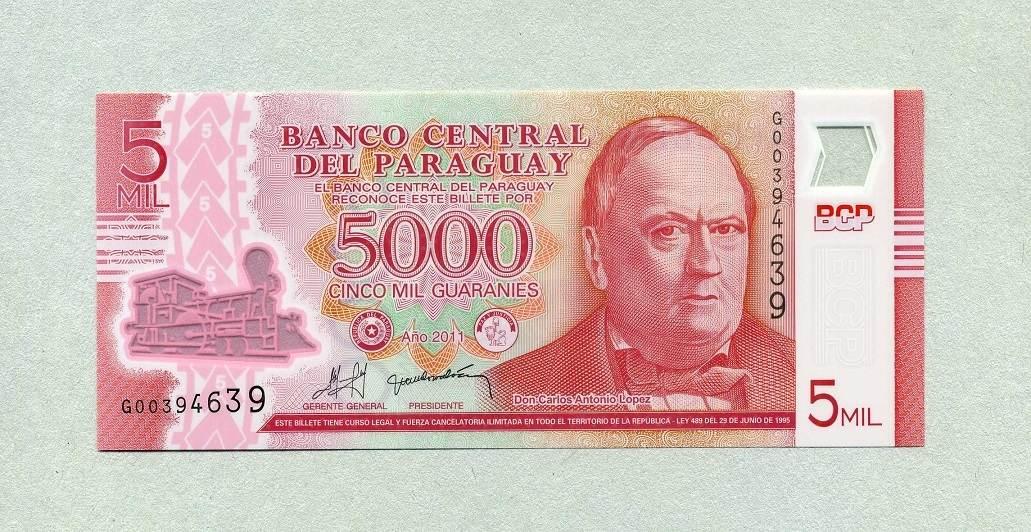 PARAGUAY 5000 5,000 GUARANIES 2011 P 234 POLYMER UNC 2013